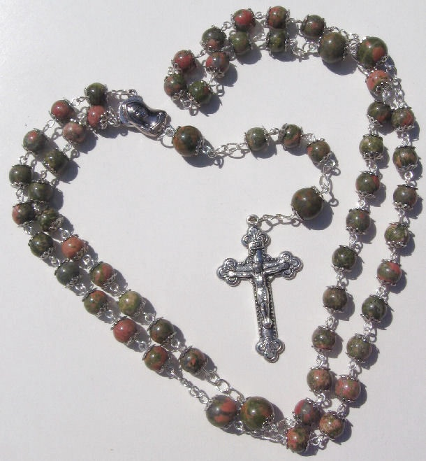 Prayer Necklace 8mm & 10mm Unakite Beads Rosary By Bruce