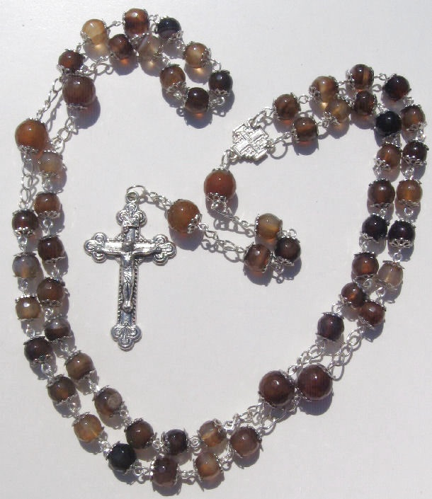Rosary Prayer Necklace 8mm & 10mm Coffee Agate Faceted