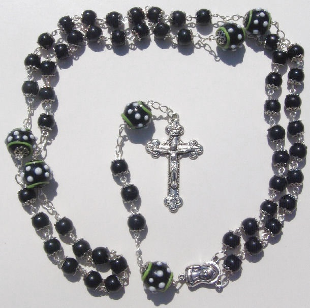 Rosary Prayer Necklace 8mm 14mm Black White Glass Beads By